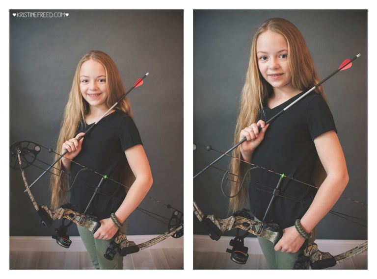 studio pictures of tween girl with bow and arrow, Who I Am Project, Kristine Freed Photography